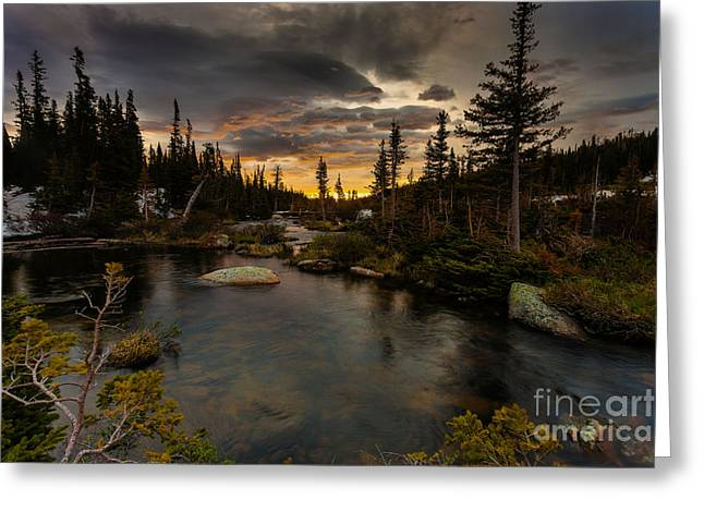 Sunrise In The Indian Peaks Greeting Card