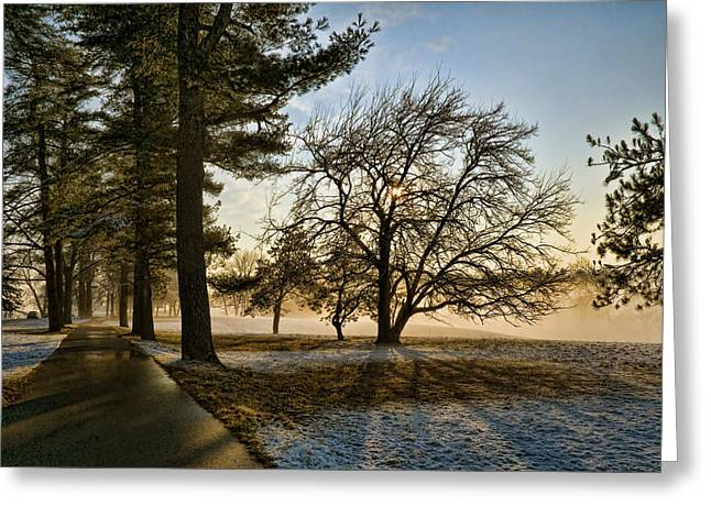 Sunrise In The Park Greeting Card
