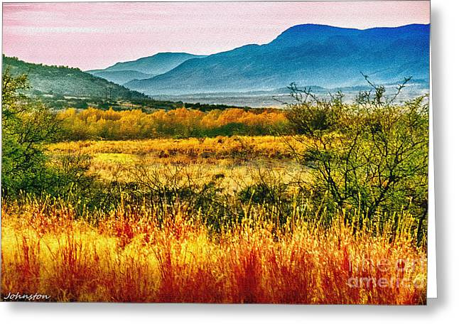 Sunrise In Verde Valley Arizona Greeting Card by Bob and Nadine Johnston