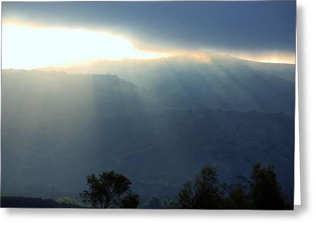 Sunrise Into Fog Blue Hue Greeting Card