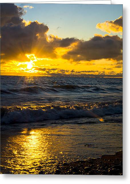 Sunrise Lake Michigan August 30th 2013 001  Greeting Card