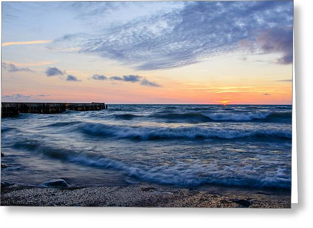 Sunrise Lake Michigan August 8th 2013  Greeting Card