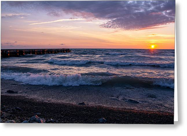 Sunrise Lake Michigan August 8th 2013 Wave Crash Greeting Card