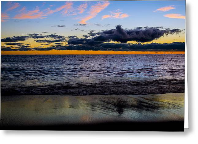 Greeting Card featuring the photograph Sunrise Lake Michigan September 14th 2013 003 by Michael  Bennett