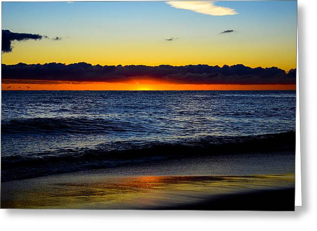 Greeting Card featuring the photograph Sunrise Lake Michigan September 14th 2013 008 by Michael  Bennett