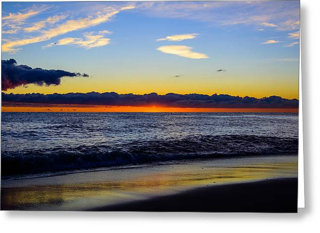 Greeting Card featuring the photograph Sunrise Lake Michigan September 14th 2013 012 by Michael  Bennett