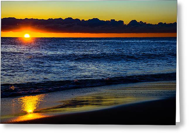 Greeting Card featuring the photograph Sunrise Lake Michigan September 14th 2013 015 by Michael  Bennett