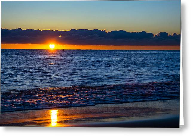Greeting Card featuring the photograph Sunrise Lake Michigan September 14th 2013 016 by Michael  Bennett