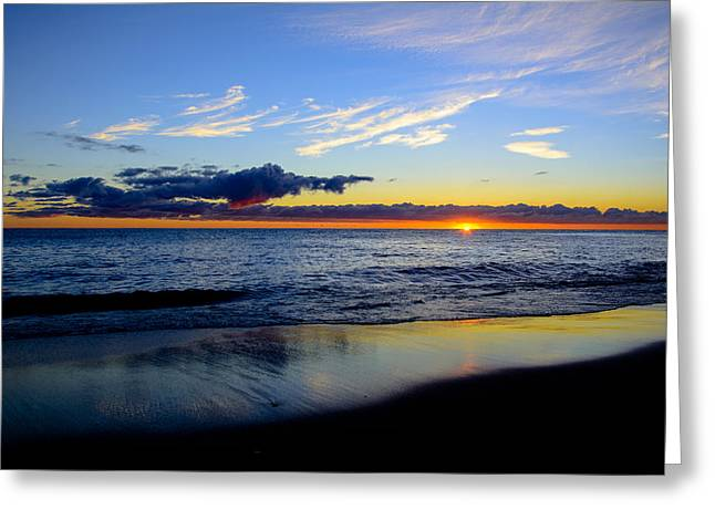 Greeting Card featuring the photograph Sunrise Lake Michigan September 14th 2013 017 by Michael  Bennett