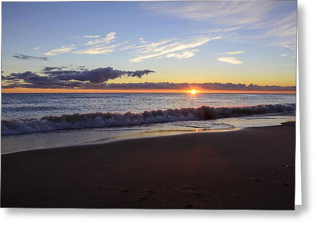 Greeting Card featuring the photograph Sunrise Lake Michigan September 14th 2013 018 by Michael  Bennett