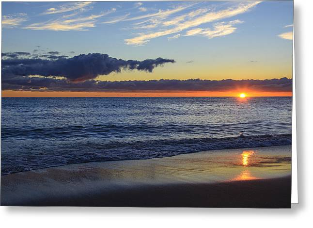 Greeting Card featuring the photograph Sunrise Lake Michigan September 14th 2013 019 by Michael  Bennett