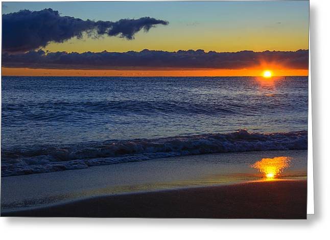 Greeting Card featuring the photograph Sunrise Lake Michigan September 14th 2013 020 by Michael  Bennett