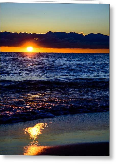 Greeting Card featuring the photograph Sunrise Lake Michigan September 14th 2013 021 by Michael  Bennett