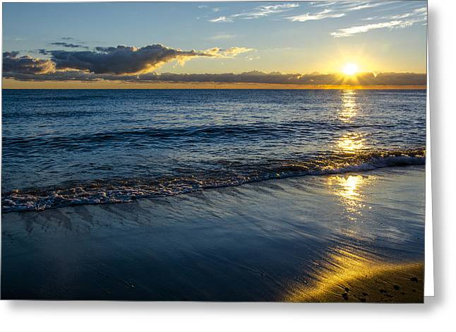 Greeting Card featuring the photograph Sunrise Lake Michigan September 14th 2013 023 by Michael  Bennett