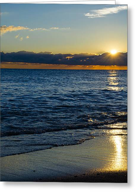 Greeting Card featuring the photograph Sunrise Lake Michigan September 14th 2013 024 by Michael  Bennett