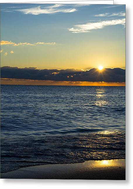 Greeting Card featuring the photograph Sunrise Lake Michigan September 14th 2013 025 by Michael  Bennett