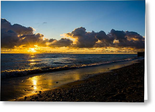 Greeting Card featuring the photograph Sunrise Lake Michigan September 2nd 2013 004 by Michael  Bennett
