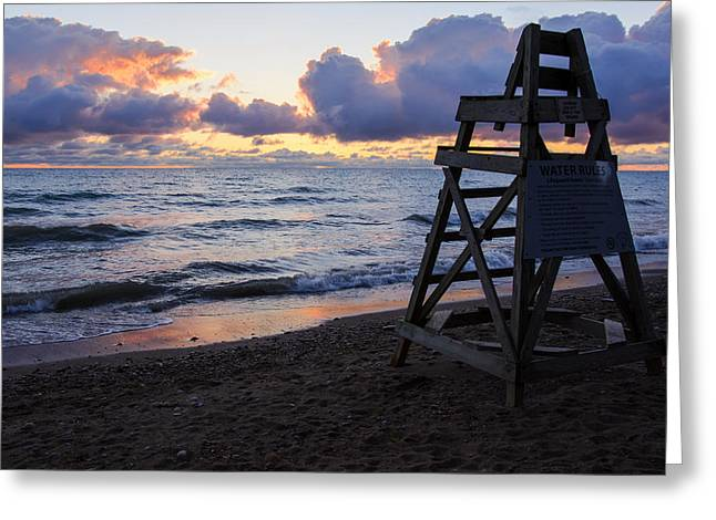 Greeting Card featuring the photograph Sunrise Lake Michigan September 2nd 2013 005 by Michael  Bennett