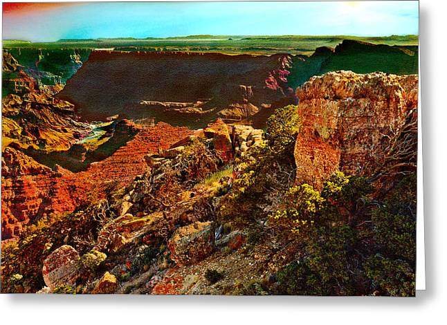 Sunrise Lipan Point Grand Canyon Greeting Card by Bob and Nadine Johnston