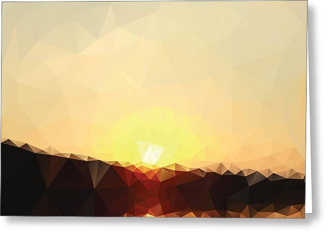 Sunrise Low Poly Effect Abstract Vector Greeting Card by Vinko93