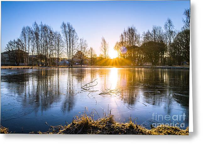 Sunrise Magic At The Icy Pond In Spring Greeting Card by Ismo Raisanen