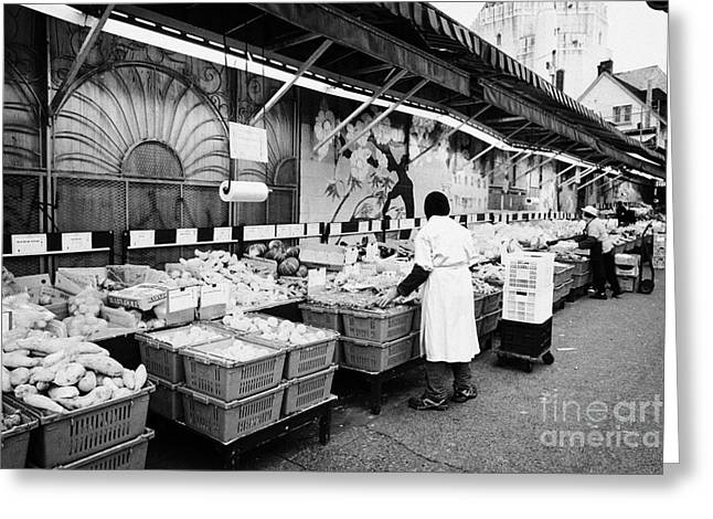 sunrise market fruit and veg stalls downtown eastside Vancouver BC Canada Greeting Card