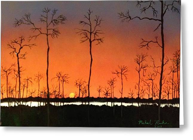 Greeting Card featuring the painting Sunrise by Michael Rucker