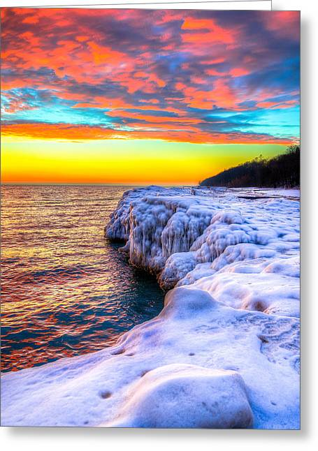 Sunrise North Of Chicago Lake Michigan 1-14-14 Greeting Card by Michael  Bennett