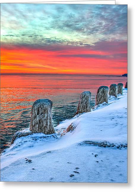 Sunrise North Of Chicago Lake Michigan 1-18-14 Greeting Card by Michael  Bennett