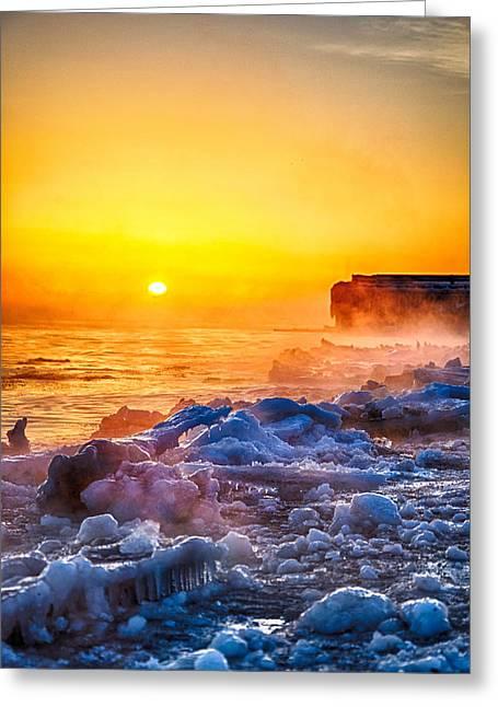 Sunrise North Of Chicago Lake Michigan 1-3-14  Greeting Card by Michael  Bennett