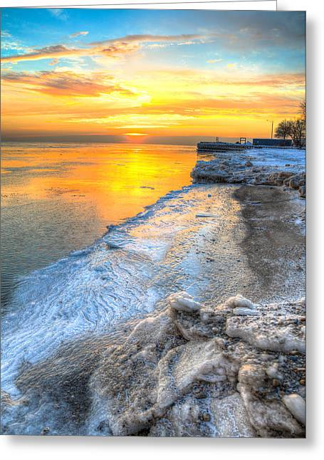 Sunrise North Of Chicago Lake Michigan 1-4-14   Greeting Card by Michael  Bennett