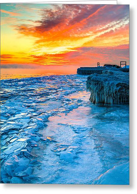 Sunrise North Of Chicago Lake Michigan 1-9-14 002  Greeting Card by Michael  Bennett