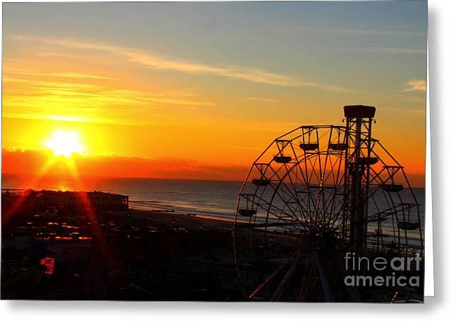 Sunrise Ocean City Boardwalk Greeting Card