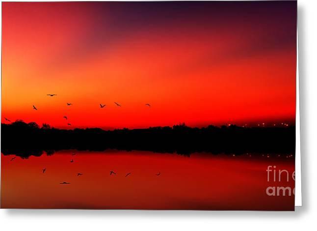 Sunrise On A Loch Greeting Card