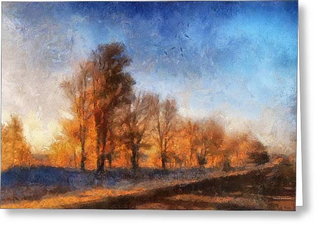Sunrise On A Rural Country Road Photo Art 02 Greeting Card by Thomas Woolworth