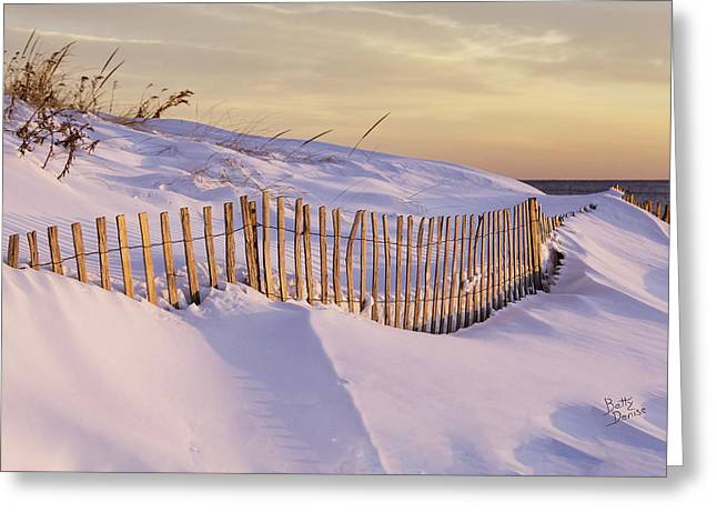 Sunrise On Beach Fence Greeting Card