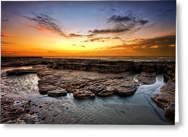 Sunrise On Bexhill Beach Greeting Card by Mark Leader