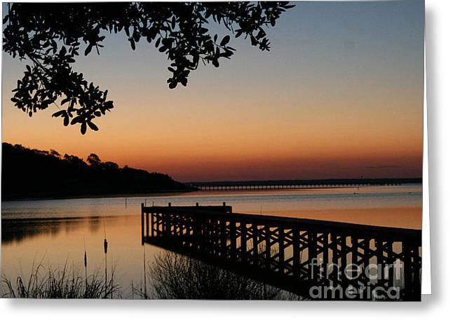 Sunrise On Bogue Sound Greeting Card by Cari Gesch