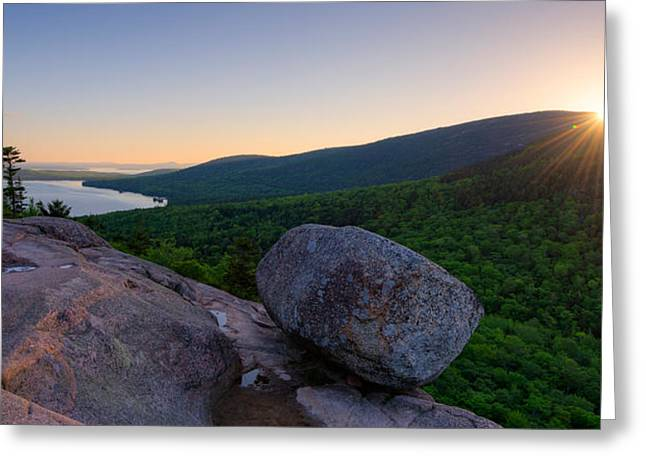 Sunrise On Bubble Rock, Acadia National Greeting Card by Panoramic Images