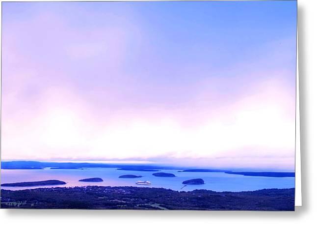 Sunrise On Cadillac Mountain Acadia National Park Greeting Card by Paul Ge