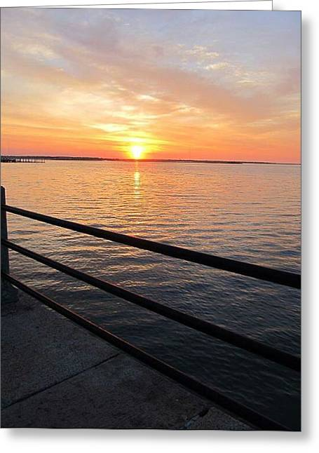 Greeting Card featuring the photograph Sunrise On Charleston Sc Battery by Joetta Beauford
