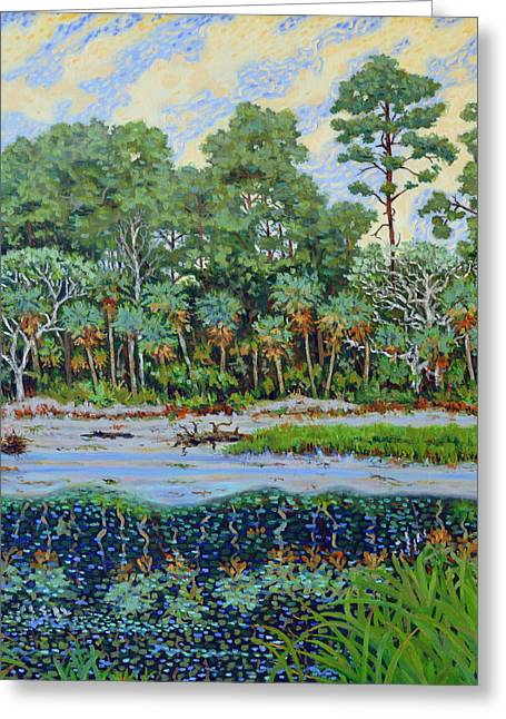 Greeting Card featuring the painting Sunrise On Hunting Island Lagoon by Dwain Ray