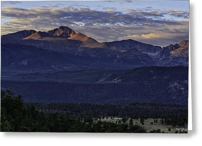 Sunrise On Longs Greeting Card by Tom Wilbert