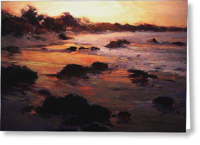 Sunrise On Moonstone Beach Greeting Card by R W Goetting