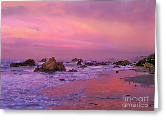 Greeting Card featuring the photograph Sunrise On Sea Stacks Harris Sb Oregon by Dave Welling