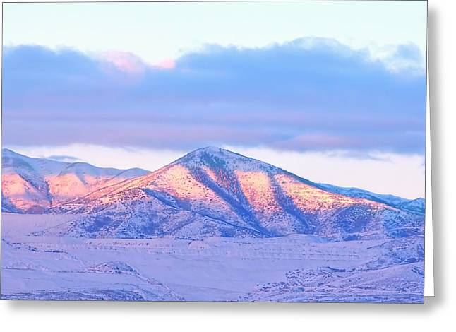 Sunrise On Snow Capped Mountains Greeting Card