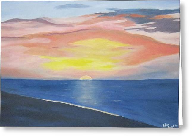 Sunrise On The Atlantic Greeting Card by Edna Fenske