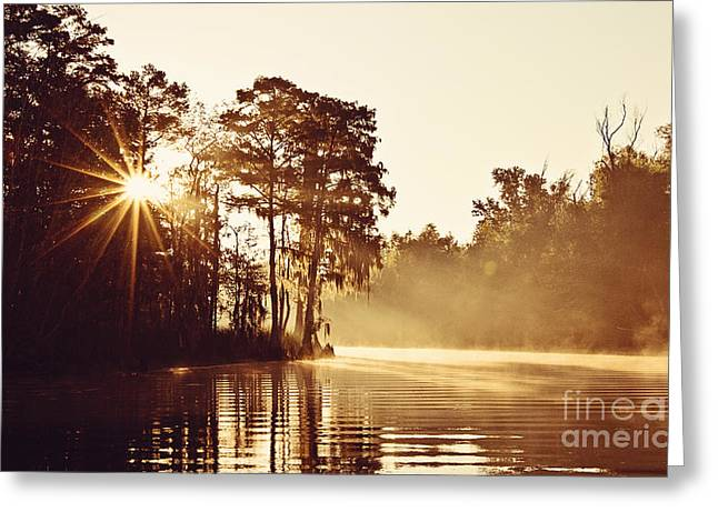 Sunrise On The Bayou Greeting Card by Scott Pellegrin