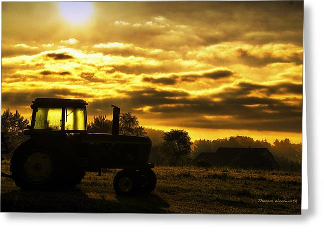 Sunrise On The Deere Greeting Card by Thomas Woolworth