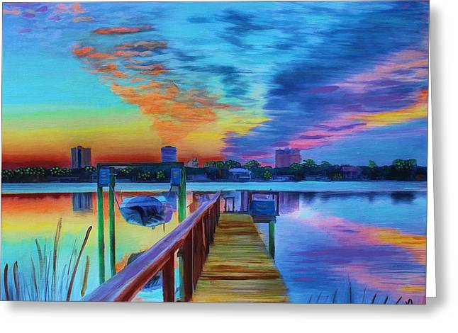 Sunrise On The Dock Greeting Card